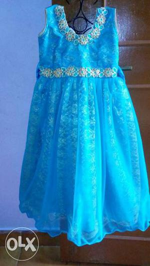 Brand new Royal Blue Netted long Frock for 3 to 5 years