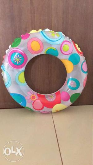 Grey, Pink And Blue Inflatable Ring