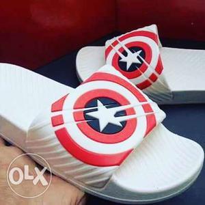 Captain America Themed Slide Sandals