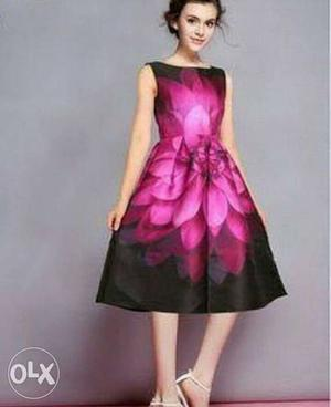 Women's Black And Pink Floral Sleeveless Dress