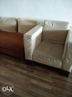 5 seater sofa set made of teak wood frame and two