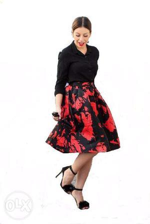 Brand new printed women midi skirt