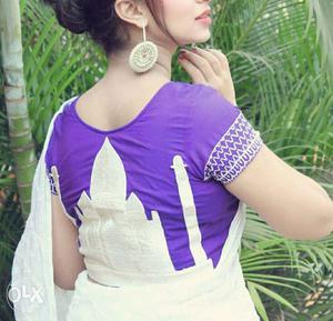 Fully designer embroidered taj Mahal blouse.