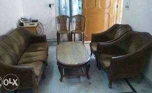 Gently used for 5 years,(3+1+1) seater wooden sofa set