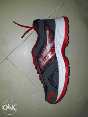 Gray,white And Red Reebok Athletic Shoe
