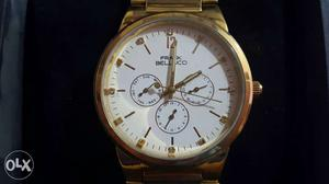 Round Gold Frank Bellucci Chronograph Watch In Box