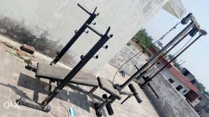 6 In 1 Gym Bench + 56 Kg Weight + 5ft Rod + 3ft Curl Rod