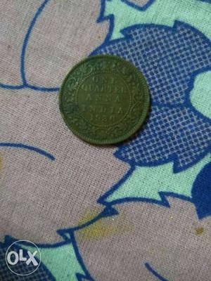 Indian old currency of  one quarter Anna.
