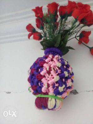 Artificial Red Rose Flower Bouquet On Crochet Bowl