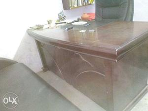 Brown Wooden Secretary Desk With Office Chair