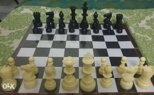 Chess set with solid heavy plastic pieces.