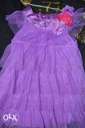 Girls lavender layered frill frock. age 1.5 to 4