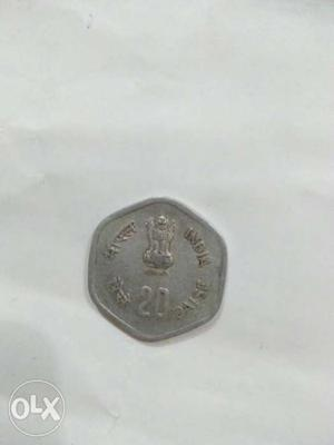 It is the coin of 20 paise of year