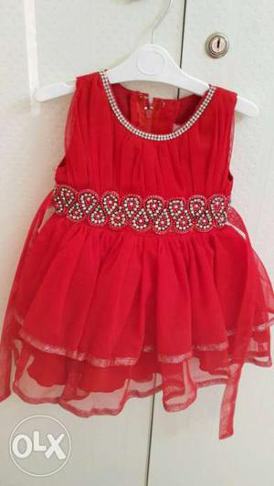 Red Party wear frock for baby girl 9- 18 months