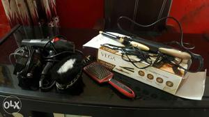 Black Electric Hair Blower And Electric Hair Curler