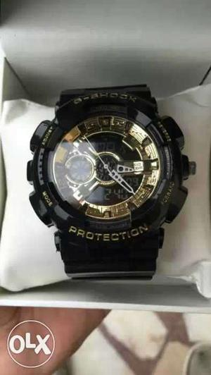 Black colour round dial gshock dual chronograph watch