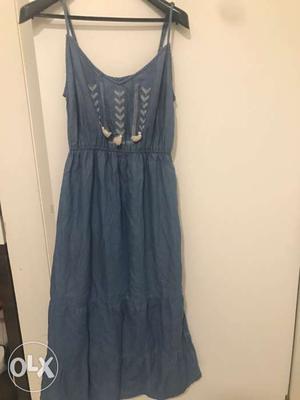 Denim Spaghetti Strap Pleated Dress