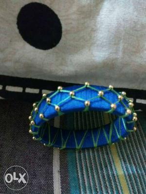 Gold Beaded Blue Silk Thread Bangle Bracelet