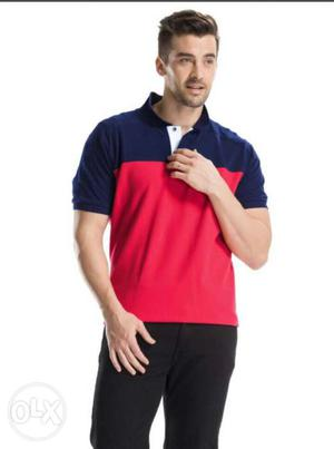 Men's Blue And Red Polo tshirt _New