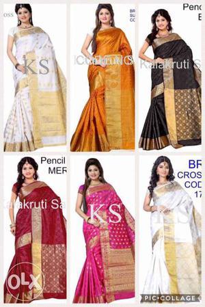 Six Women's Assorted Color KS Sari Dresses