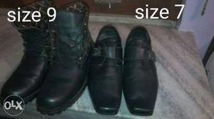 Two Pairs Of Black Leather Size 9 Combat Boots And Size 7