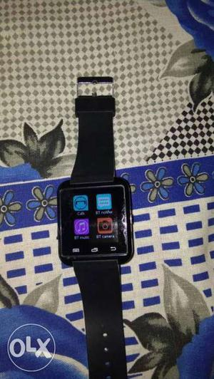 Black Case Bluetooth Smart Watch With Black Strap