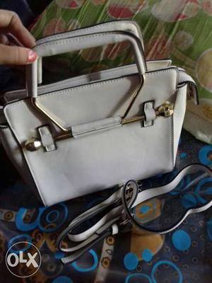 White Leather 2 Way Handbag