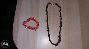 Black Beaded Necklace And Red Beaded Bracelet