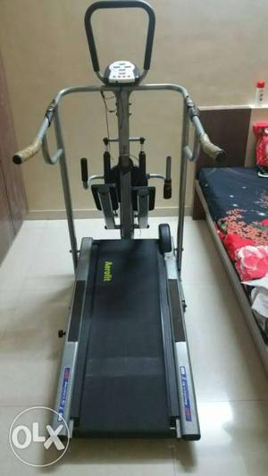 Gray And Black Treadmill With Stepper