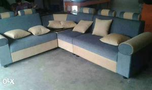 Blue And White Sectional Couch And Pillows