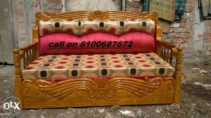 Brown Wooden Padded Daybed