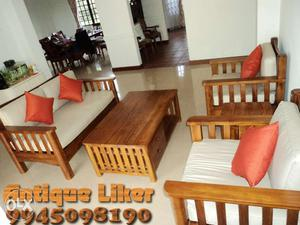 Pure Teak 3+1+1 sofa with center table