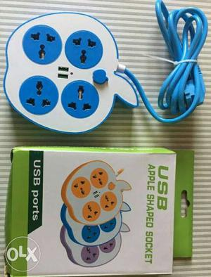 White And Blue Apple Shape Power Strip With Box