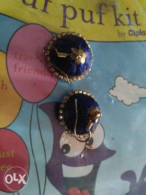 Blue Silk Thread Jhumka Earrings
