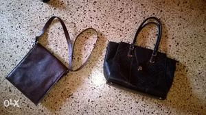 Brown leather bag and black artificial leather bag