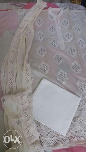 Chanderi silk suit with pure shiffon dupatta and cream
