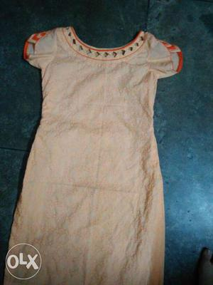Peach orange color kurti for girls/ladies with