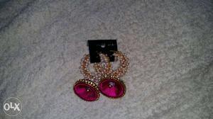 Pink jumkha moti work on it