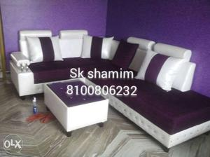 Purple And White Sectional Couch With Ottoman