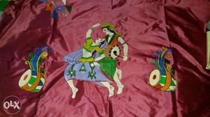 Totally hand painted bangalore silk for