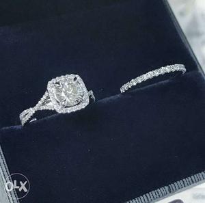 1.50ct Round cut VVSI diamond 925 sterling silver bridal set