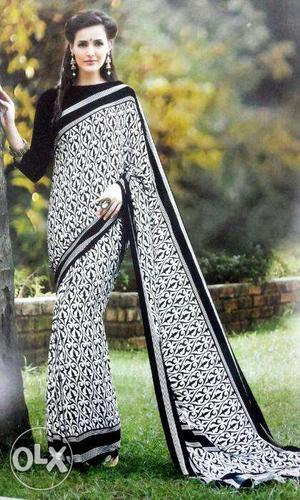 Art crape painted Sarees Fabric next to pure