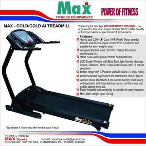 MAX Gold motorised treadmill in Good condition (MAX SPORTS)