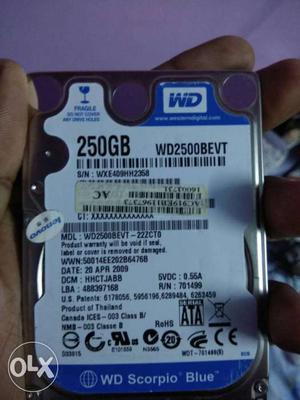 Western Digital 250GB laptop Harddisk less used