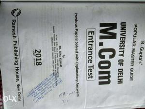 (DU) M.com Entrance Test Book.