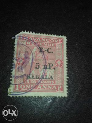 Very old one ana travancore revenue stamp with