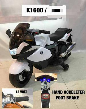 White And Black BMW Ride-on Sport Bike With Training Wheels