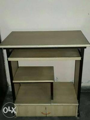 Heavy Wooden and Iron framed Computer table with big drawer