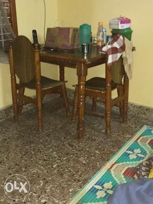 Teak wood, Dining table, with 4 chairs, only two