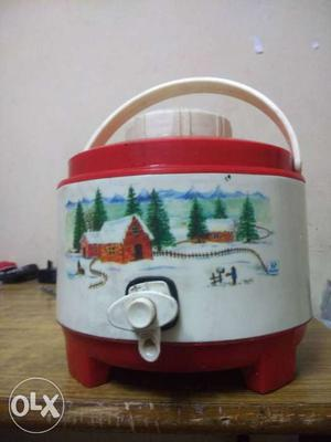 White And Red Plastic Beverage Dispenser